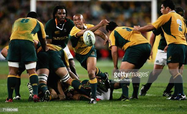 George Gregan of the Wallabies passes during the Tri Nations series second Mandela plate match between Australia and South Africa at Telstra Stadium...