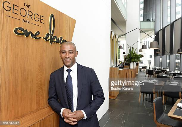 George Gregan poses for a photo before meeting with Quensland Reds players at his cafe named GG Espresso on January 29 2014 in Brisbane Australia