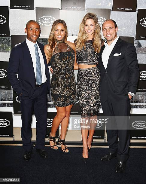 George Gregan Sally Fitzgibbons Jennifer Hawkins and Phil Waugh pose at a launch for the Land Rover Discovery Sport at the Royal Botanical Gardens on...