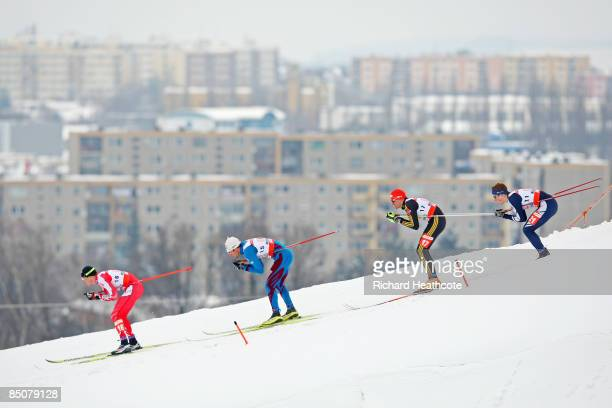 George Grey of Canada Jean Marc Gaillard of France Tobias Angerer of Germany and Andrew Musgrave of Great Britain compete during the Men's Cross...