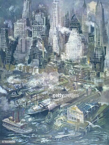 George Grosz German Artist Manhattan Harbor