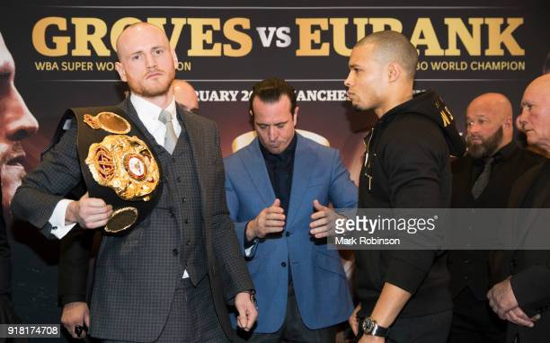 George Groves and Chris Eubank Jr face off after their press conference at Crowne Plaza Hotel in Manchester on February 14 2018 in Manchester England
