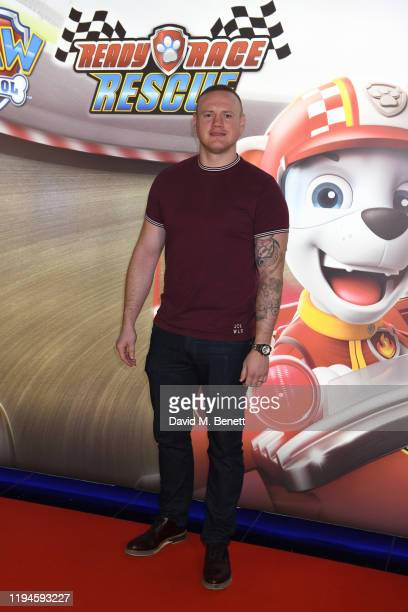 """George Groves attends the gala screening of """"Paw Patrol"""" at Cineworld Leicester Square on January 19, 2020 in London, England."""