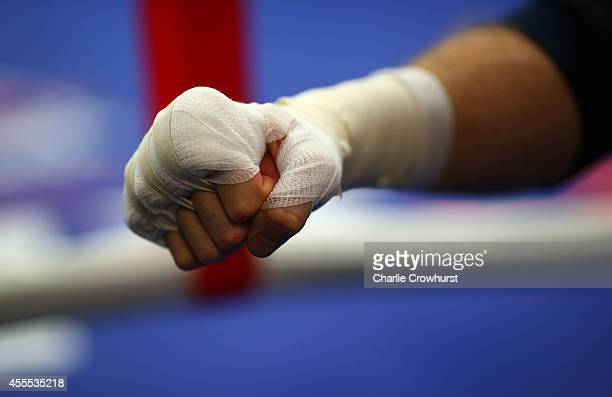 George Groves gloves up during the George Groves media work out on September 16 2014 in London England