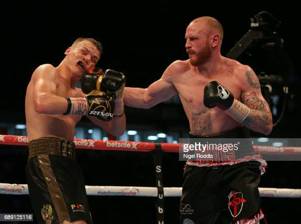 George Groves in action against Fedor Chudinov during their WBA SuperMiddleweight World Championship contest at Bramall Lane on May 27 2017 in...