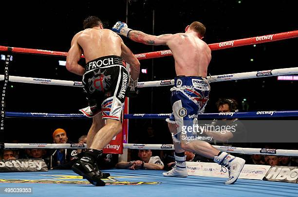 George Groves is kncoked out Carl Froch in their IBF and WBA World Super Middleweight bout at Wembley Stadium on May 31 2014 in London England