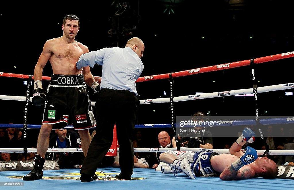 George Groves is kncoked out Carl Froch in their IBF and WBA World Super Middleweight bout at Wembley Stadium on May 31, 2014 in London, England.