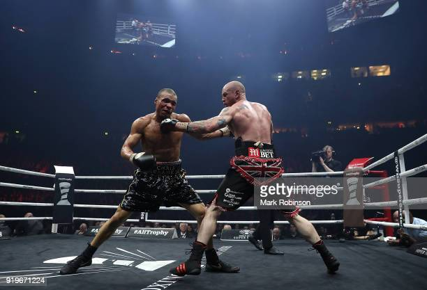 George Groves of England and Chris Eubank JR of England exchange blows during their WBSS Super Middleweight bout at the Manchester Arena on February...