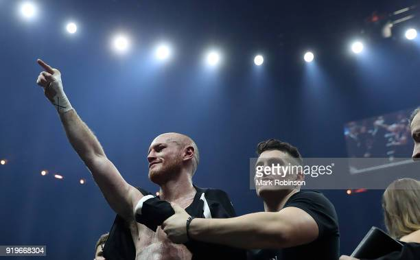 George Groves of England celebrates after defeating Chris Eubank JR of England during their WBSS Super Middleweight bout at the Manchester Arena on...