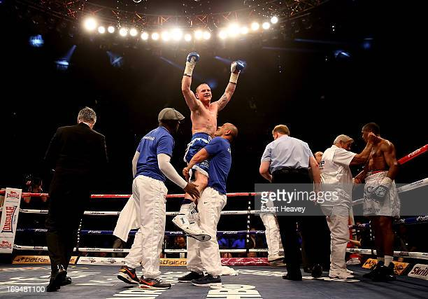 George Groves of England celebrates his victory over Noe Gonzalez of Uruguay during their International Super Middleweight bout at the O2 Arena on...