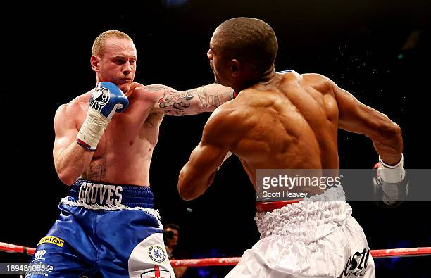 George Groves of England connects with Noe Gonzalez of Uruguay during their International Super Middleweight bout at the O2 Arena on May 25 2013 in...