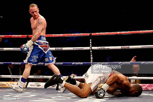 George Groves of England knocks out Noe Gonzalez of Uruguay during their International Super Middleweight bout at the O2 Arena on May 25 2013 in...