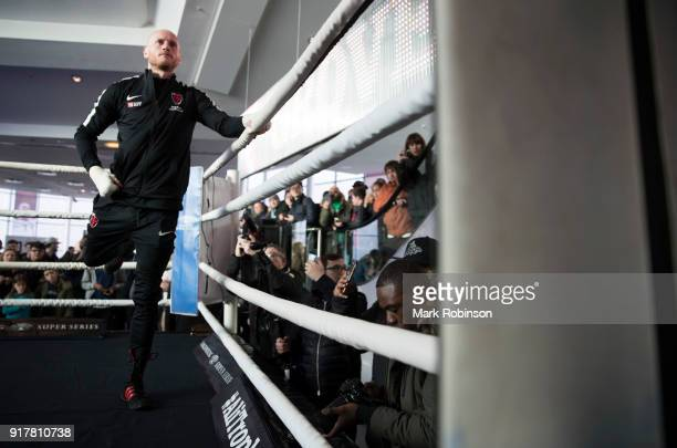 George Groves takes part in a public work out at National Football Museum on February 13 2018 in Manchester England