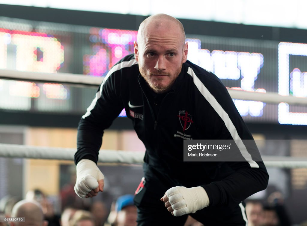 George Groves takes part in a public work out at National Football Museum on February 13, 2018 in Manchester, England.