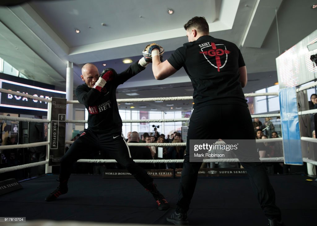 George Groves takes part in a public work out with his trainer Shane McGuigan at National Football Museum on February 13, 2018 in Manchester, England.
