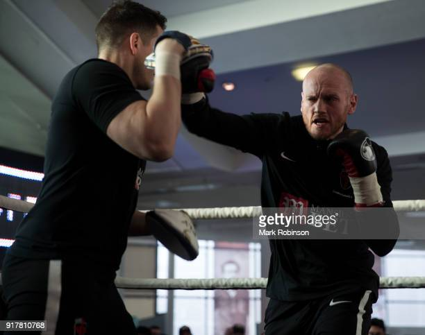 George Groves takes part in a public work out with his trainer Shane McGuigan at National Football Museum on February 13 2018 in Manchester England