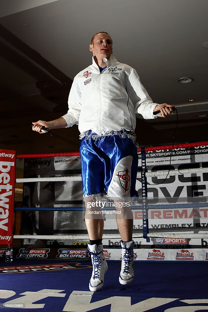 George Groves works out during the George Groves Media Work Out at Westfield Shopping Centre Shepherds Bush on May 27, 2014 in London, England.