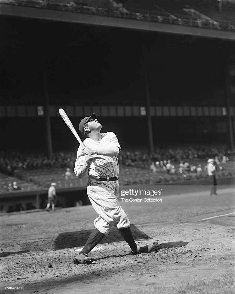 George H Ruth Of The New York Yankees Swinging A Bat In -5266