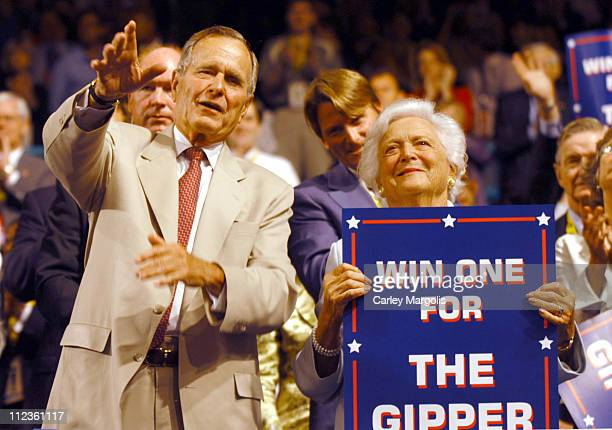 George H. W. Bush and Barbara Bush during 2004 Republican National Convention - Day 3 - Inside at Madison Square Garden in New York City, New York,...