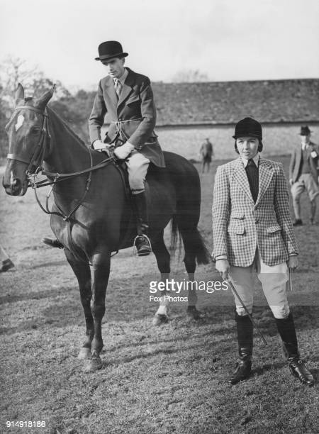 George Haig 2nd Earl Haig with Miss E Profums at the Oxford University Drag Hounds and Hunter Trials at Middleton Stoney near Bicester in Oxfordshire...