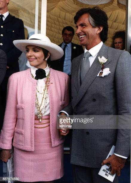 George Hamilton Actor American with actress Liza Minnelli at Epsom Derby 88'