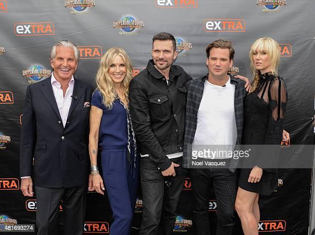 George Hamilton Alana Stewart Ashley Hamilton Sean Stewart and Kimberly Stewart visit 'Extra' at Universal Studios Hollywood on July 23 2015 in...