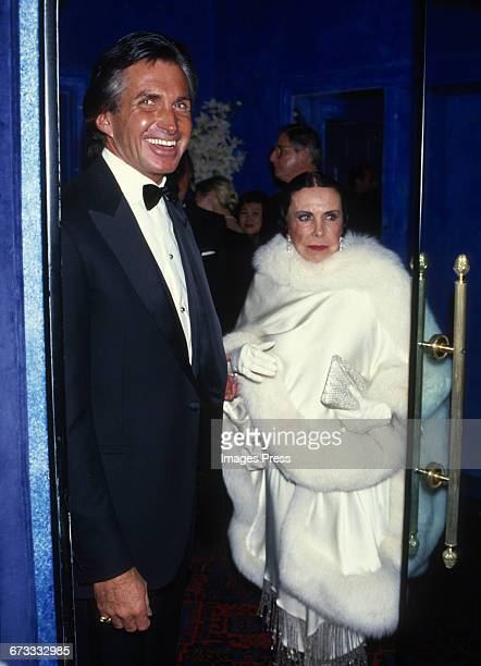 George Hamilton and his mother Ann Stevens attend the Grand Opening of newly refurbished Club El Morocco circa 1987 in New York City