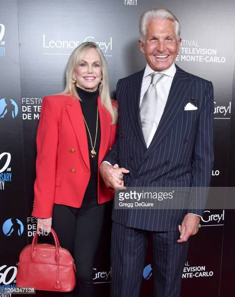 George Hamilton and Kelly Day attend the 60th Anniversary Party For The Monte-Carlo TV Festival at Sunset Tower Hotel on February 05, 2020 in West...