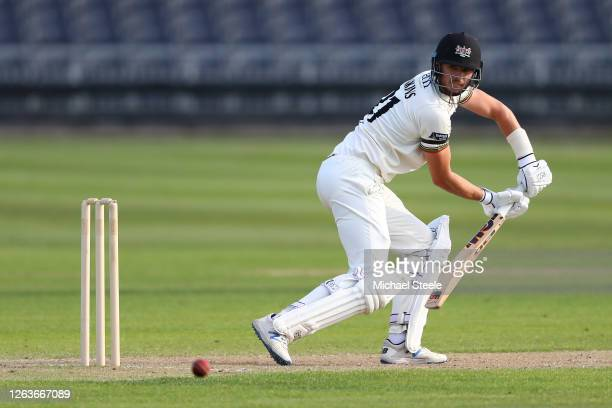 George Hankins of Gloucestershire plays behind point during day three of the Bob Willis Trophy Central Group match between Gloucestershire and...