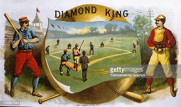 George Harris Sons lithographers draw two baseball players on either side of a central game scene to decorate the cigar label entitled Diamond King...
