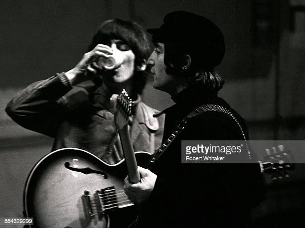 George Harrison and John Lennon are picture at the Donmar Rehearsal Theatre central London during rehearsals for The Beatles upcoming UK tour...