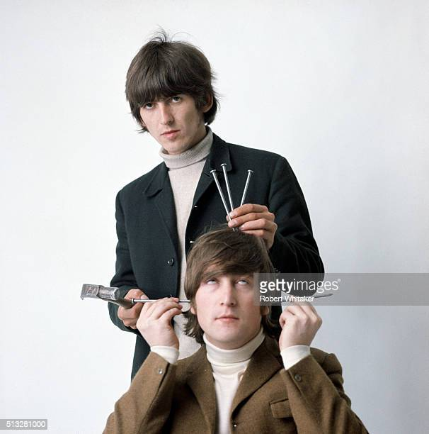 George Harrison and John Lennon of The Beatles in an outtake from the cover session for the 'Yesterday Today' album Vale Studios Chelsea London 25th...