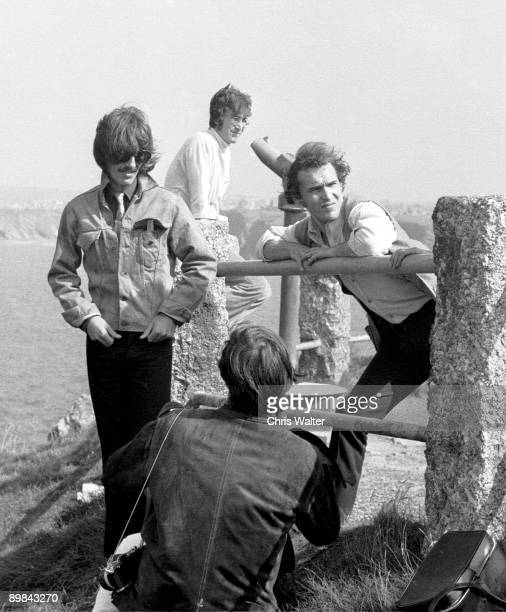 George Harrison and John Lennon with Neil Aspinall during filming of Magical Mystery Tour 1967