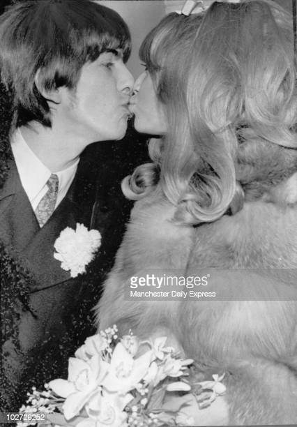 George Harrison and Patti Boyd 1966 Beatle George Harrison and bride Patti Boyd kissing