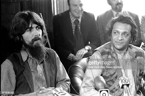 George Harrison and Ravi Shankar speak to reporters about benefit show for East Pakistan refugee children