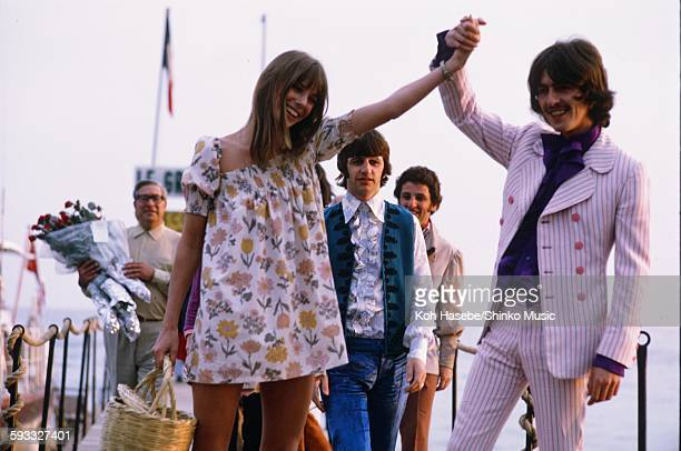 George Harrison and Ringo Starr at The Cannes Film Festival with Jane Birkin, Canns, May 17, 1968.