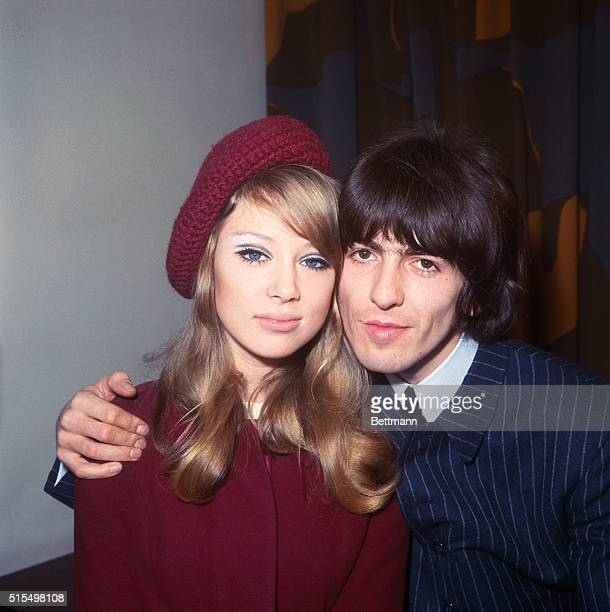 George Harrison hugs his bride model Patti Boyd after they were married at the register office in Epsom January 21st Harrison became the third member...