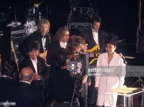 George Harrison of The Beatles inductee Will Lee Julian Lennon Mick Jagger Sean Lennon and Yoko Ono
