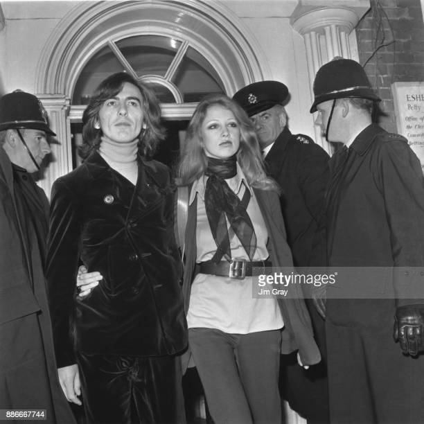 George Harrison of the Beatles leaves Esher and Walton Magistrate's Court with his wife Pattie after they appeared on charges of possessing cannabis...
