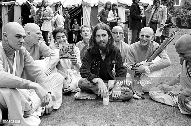 George Harrison of the Beatles pictured amongst the Buddhist American group The Radha Krishna Temple August 1969 Z08251005