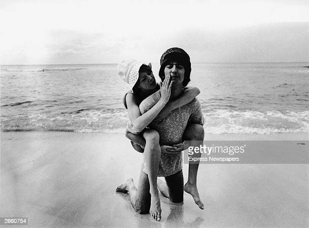 George Harrison of the Beatles with his wife Patti Boyd during their honeymoon in Barbados