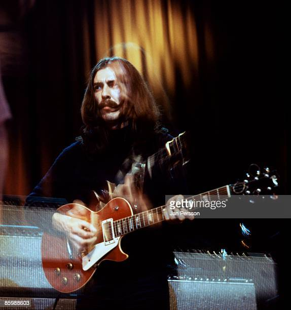 George Harrison performs on stage with Delaney and Bonnie in Copenhagen Denmark in December 1969 He is playing Lucy a Gibson Les Paul guitar given to...