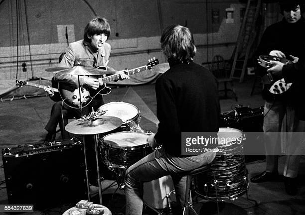 George Harrison Ringo Starr and John Lennon are pictured at the Donmar Rehearsal Theatre central London during rehearsals for The Beatkes upcoming UK...