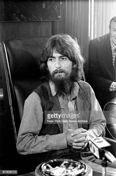 George Harrison speaks to reporters about benefit show for East Pakistan refugee children