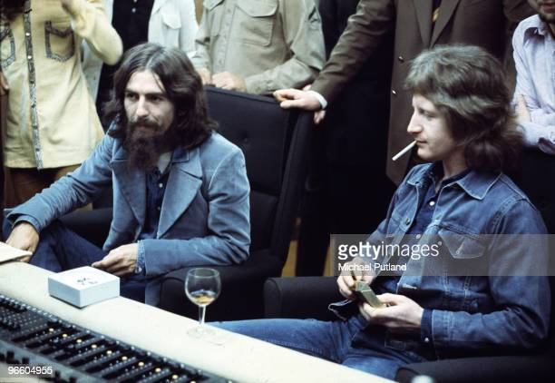 George Harrison with Peter Ham of Badfinger at Apple Recording Studios in London 30th September 1971