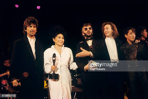 George Harrison, Yoko Ono, Ringo Starr, Julian Lennon, and Sean Lennon at the Rock n' Roll Hall of Fame III ceremony at the Waldorf Astoria in New...