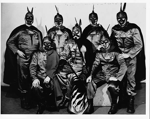 George Heleniak dresses as Vulcan for the 1948 St Paul Winter Carnival Six other men wear similar costumes