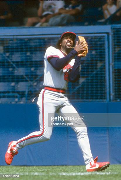 George Hendrick of the California Angels catches a fly ball against the New York Yankees during an Major League Baseball game circa 1986 at Yankee...