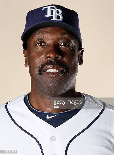 George Hendrick of the Tampa Bay Rays poses for a portrait during the Tampa Bay Rays Photo Day on February 22 2011 at the Charlotte Sports Complex in...