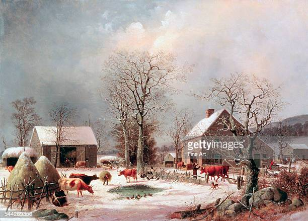 George Henry Durrie Farmyard in Winter oil on canvas 66 x 917 cm The White House Collection Washington DC